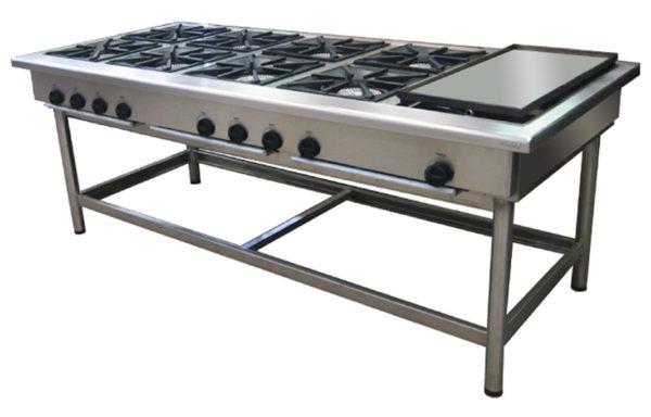 Anafe Industrial 8 platos 350×350 mm. con plancha churrasquera.