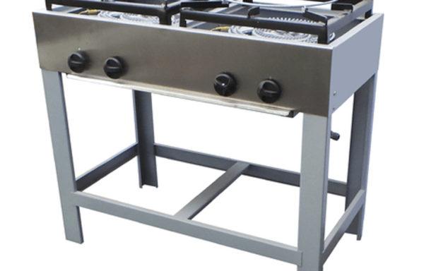 Anafe industrial 2 platos alto doble quemador Tipo Wok.