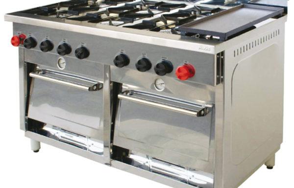 Cocina Industrial 6 platos 2 hornos + plancha churrasquera.