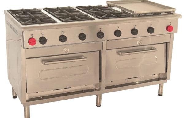 Cocina Industrial 6 platos 2 hornos + plancha churrasquera grande.