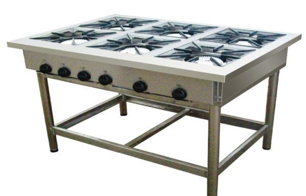 Anafe industrial 6 platos 350×350 mm.