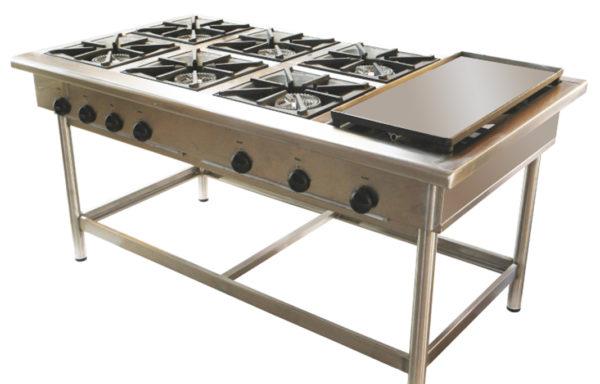 Anafe Industrial 6 platos 350×350 mm con plancha churrasquera