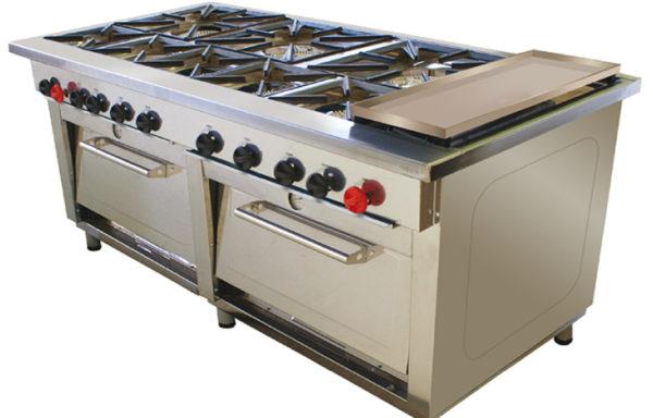 Cocina Industrial 8 platos 2 hornos + plancha churrasquera.