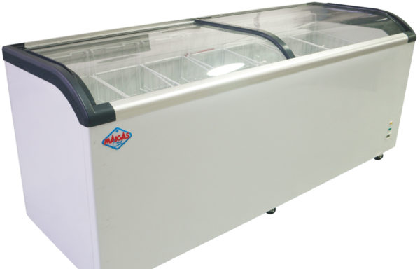 Congelador tipo isla tapa de vidrio curvo 650 Lts.